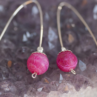 Sterling Silver earrings with Pink Agate Beads