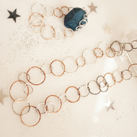 Jewellery set of necklace and bracelet combination of sterling silver and copper