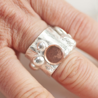 Quirky sterling silver fantasy ring with copper combination