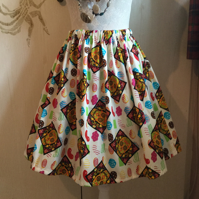 Retro 50's Candy Sugar Skull  Rockabilly Full Flared Skirt Size 14 16
