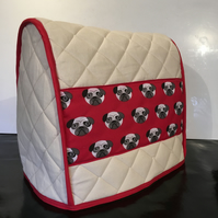 Pugalicious Pug Quilted  Calico Mixer Cover Kitchenaid 4.8 L