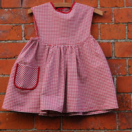 Pinafore Dress in Red Check Organic Cotton