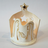Nativity scene tea light holder, hand painted with gold lustre
