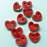 10 ceramic red hearts buttons