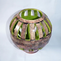 Sphere ceramic sculpture - large candle holder