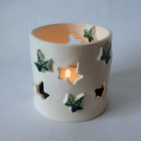 Porcelain ivy leaf tea light holder