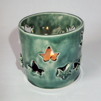 Porcelain, green, ivy leafs tea light holder