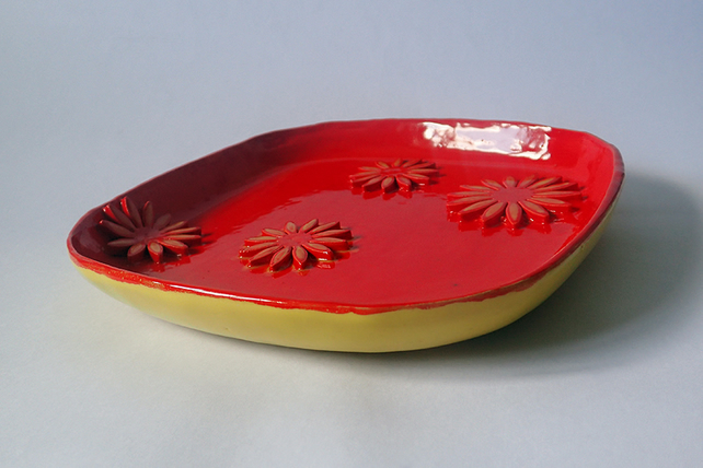 Square, red and yellow, ceramic, serving plate with flower ornament