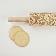 Floral One embossing wooden rolling pin