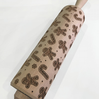 Christmas Gingerbread and Candy Canes Embossing Rolling Pin