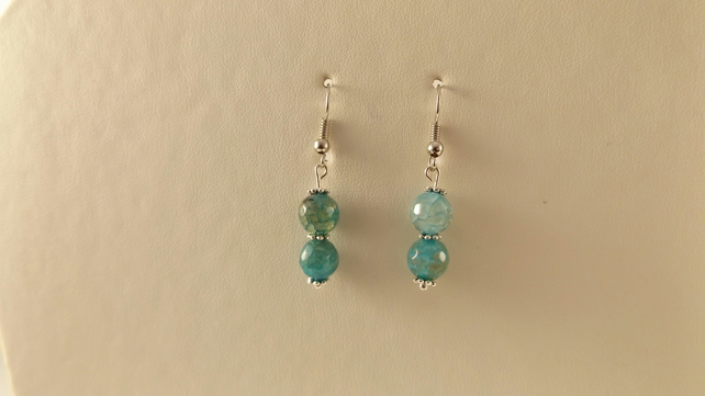 earrings blue dragon vein agate