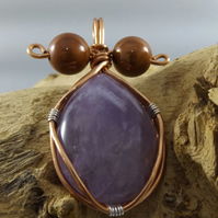 amethyst pendant with copper wire wrapped