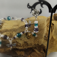 rondelle crystal dragonfly charm bracelet and earrings