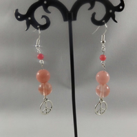 earrings dangle watermelon tourmaline and pink jade with peace charm