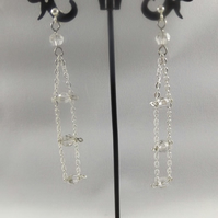 earrings ladder style with crystal