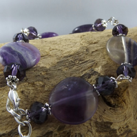 amethyst agate and  crystal bracelet