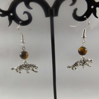 earrings tiger eye with tiger charm
