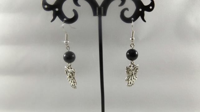 earrings black agate with owl charm