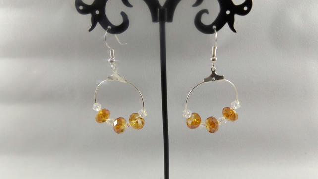 hoop gold crystal and moonstone earrings