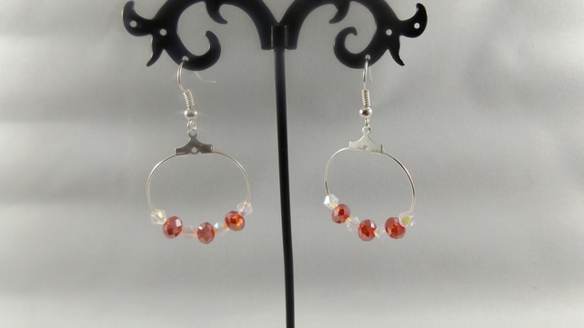 hoop red crystal and moonstone earrings