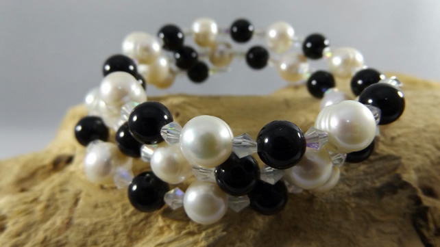 pearl and moonstone and agate memory wire bracelet