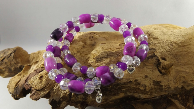 crystal bracelet and purple agate