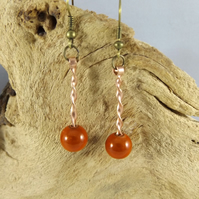 copper earrings with miracle beads