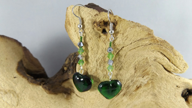 Green Heart and crystal earrings