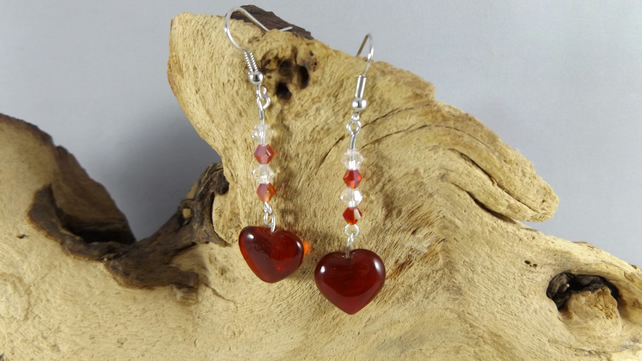 Red Heart and  crystal earrings