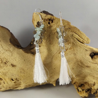 aquamarine and smokey quartz earrings