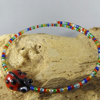 Ladybird memory wire bangle