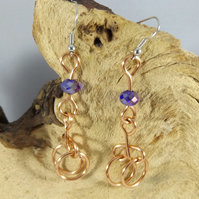 Copper dangle earrings with blue swarovski crystal