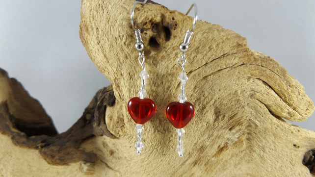 Red reversible Heart and crystal earrings