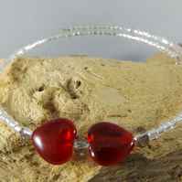memory wire heart beaded bangle