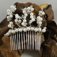 white shell pearl hair comb