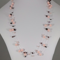 Shell pearl and garnet illusion necklace