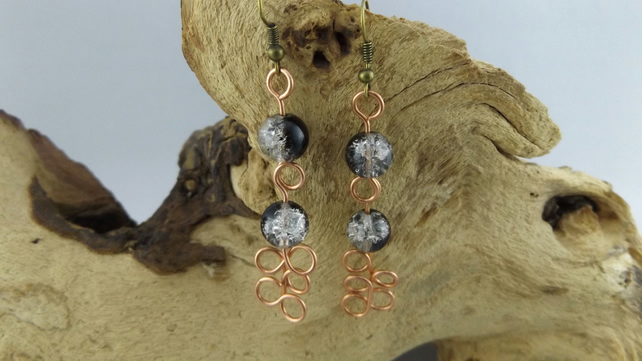 Dangle Copper wired earrings with crackle glass beads