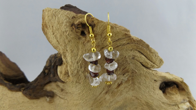 clear quartz crystal and garnet earrings