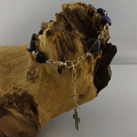 Blue Tigers Eye Heart Rosary Bracelet