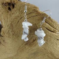 White Howlite dangle earrings