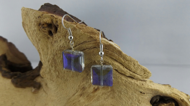 Glass faceted square purple blue earrings