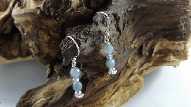 Aquamarine and  crystal earrings
