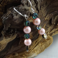 Abalone and shell pearl drop earrings