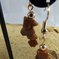 Goldstone glitter dangle earrings