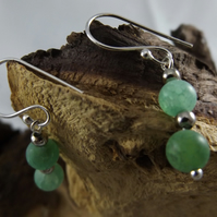 silver plated green dragon vein agate dangle earrings with shepherds hooks