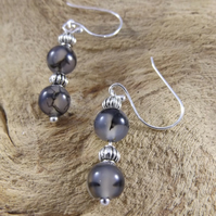 Black dragon vein agate dangle earrings