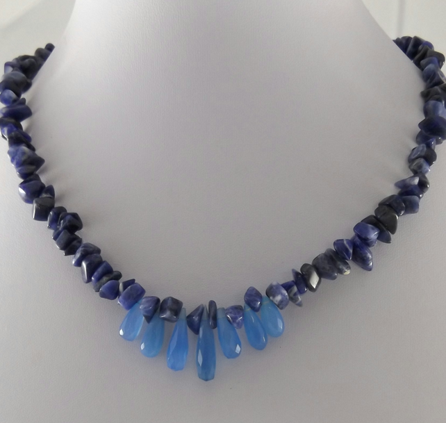 Chalcedony and Sodalite necklace