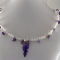 "Amethyst agate and white agate 23"" necklace"