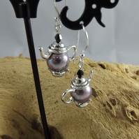 Shell lilac Pearl Teapot Earrings