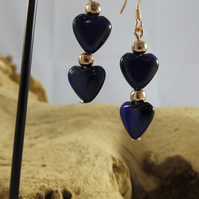 Rose gold Blue Heart Tiger eye dangle earrings